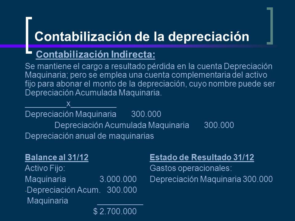 Contabilización de la depreciación Contabilización Indirecta: Se mantiene el cargo a resultado pérdida en la cuenta Depreciación Maquinaria; pero se e