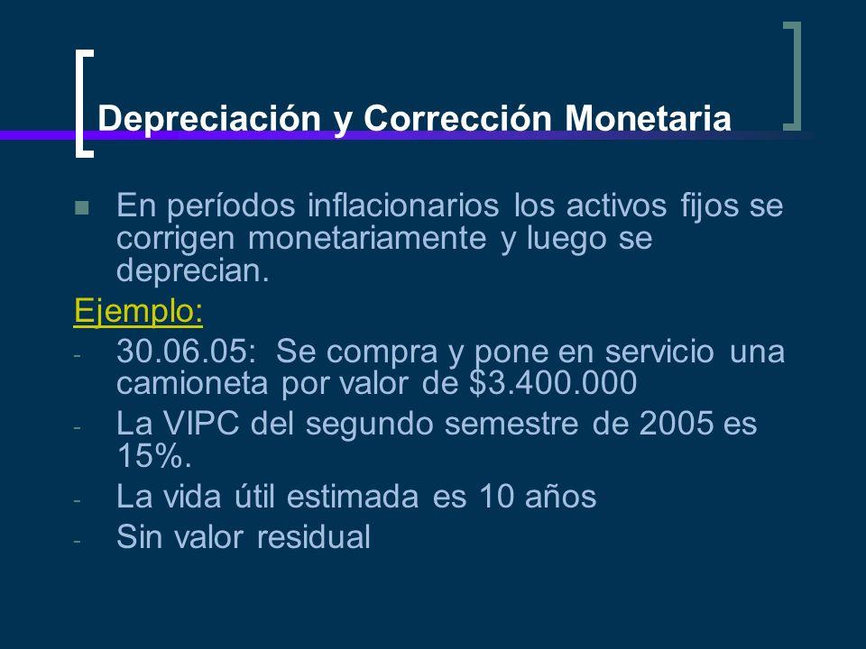 Depreciación y Corrección Monetaria En períodos inflacionarios los activos fijos se corrigen monetariamente y luego se deprecian. Ejemplo: - 30.06.05: