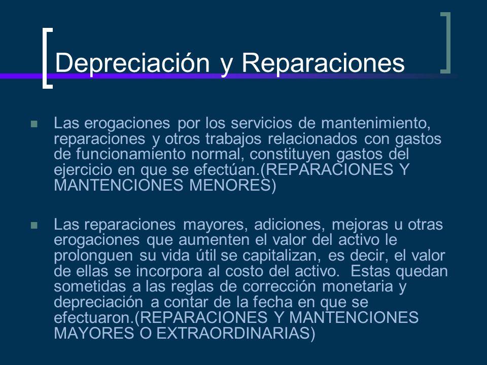 Depreciación y Reparaciones Las erogaciones por los servicios de mantenimiento, reparaciones y otros trabajos relacionados con gastos de funcionamient