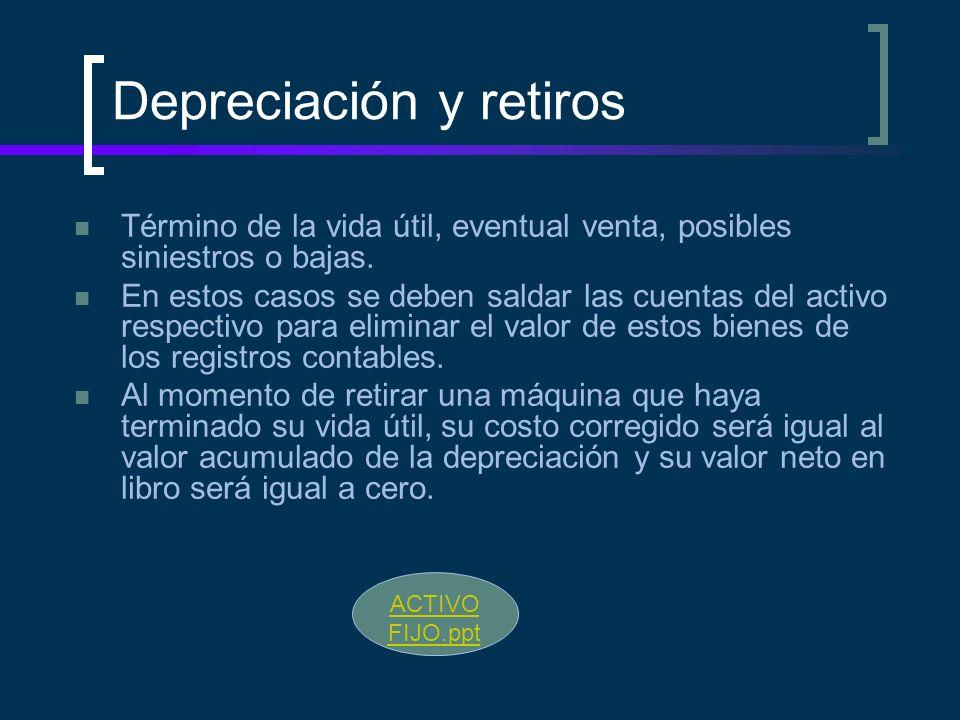 Depreciación y retiros Término de la vida útil, eventual venta, posibles siniestros o bajas. En estos casos se deben saldar las cuentas del activo res