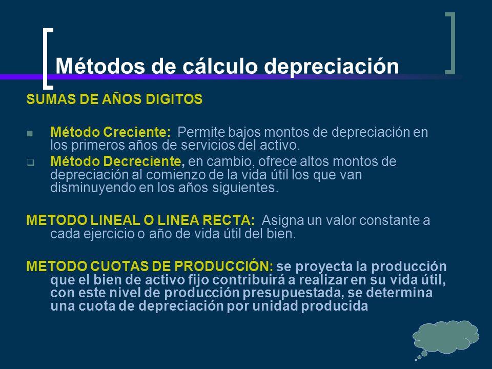 Métodos de cálculo depreciación SUMAS DE AÑOS DIGITOS Método Creciente: Permite bajos montos de depreciación en los primeros años de servicios del act