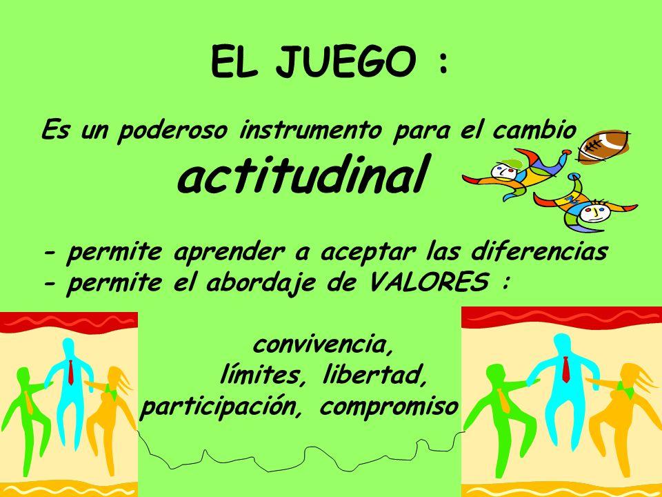 EL JUEGO : Es un poderoso instrumento para el cambio actitudinal - permite aprender a aceptar las diferencias - permite el abordaje de VALORES : convi