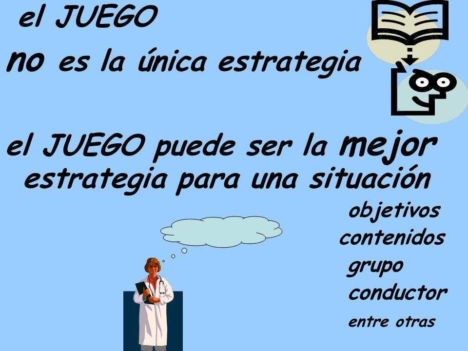 el JUEGO no es la única estrategia el JUEGO puede ser la mejor estrategia para una situación objetivos contenidos grupo conductor entre otras