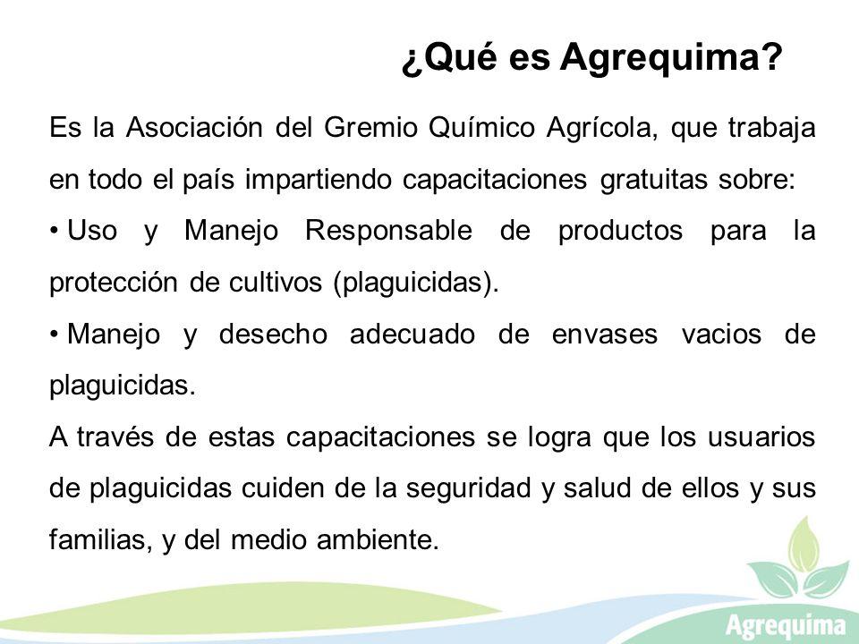 Es la Asociación del Gremio Químico Agrícola, que trabaja en todo el país impartiendo capacitaciones gratuitas sobre: Uso y Manejo Responsable de prod