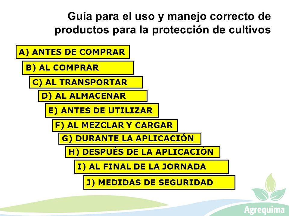 A) ANTES DE COMPRAR Guía para el uso y manejo correcto de productos para la protección de cultivos B) AL COMPRAR C) AL TRANSPORTAR D) AL ALMACENAR E)
