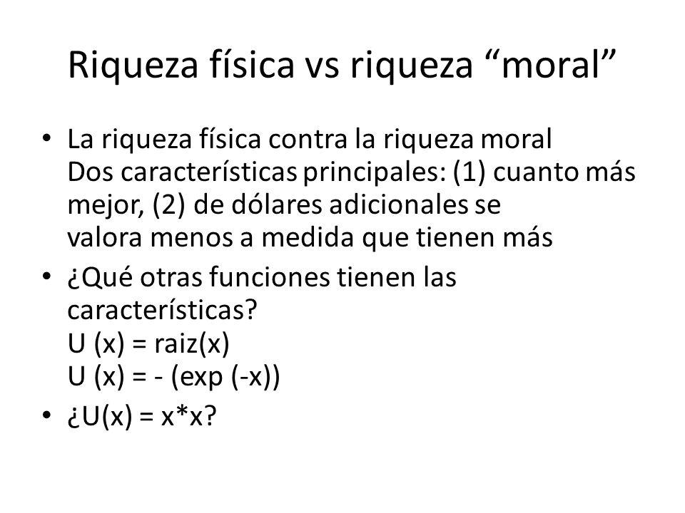 Riqueza física vs riqueza moral La riqueza física contra la riqueza moral Dos características principales: (1) cuanto más mejor, (2) de dólares adicio