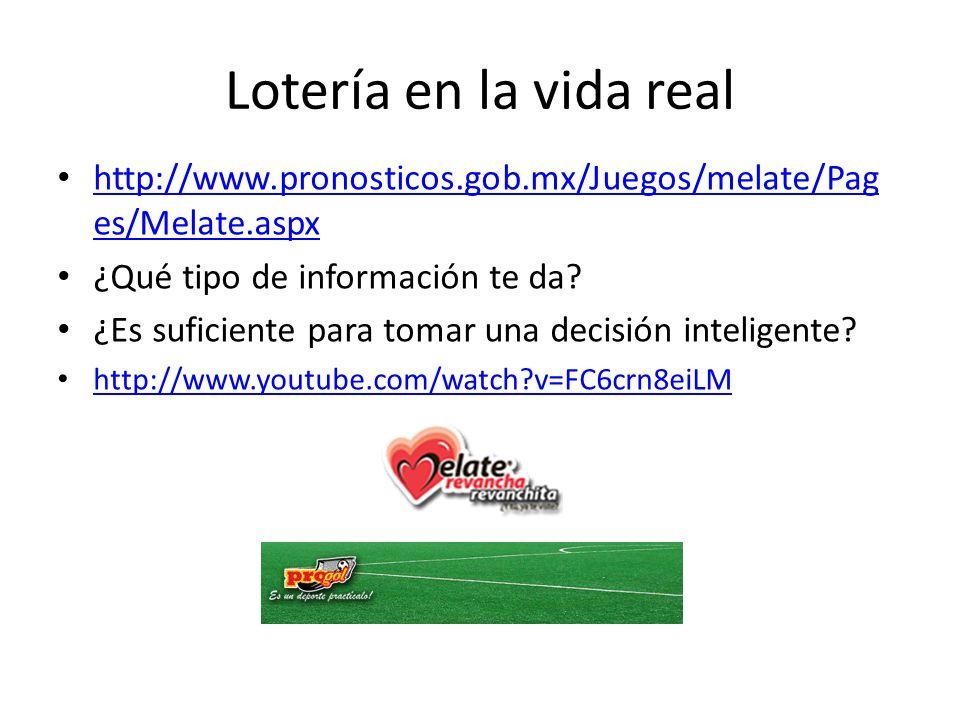 Lotería en la vida real http://www.pronosticos.gob.mx/Juegos/melate/Pag es/Melate.aspx http://www.pronosticos.gob.mx/Juegos/melate/Pag es/Melate.aspx