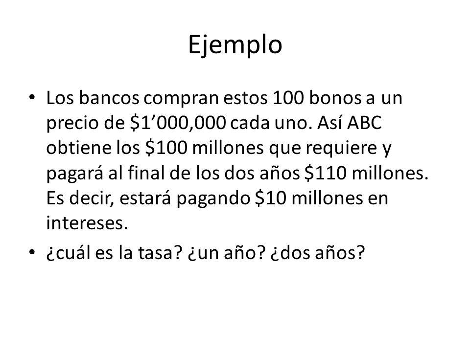 Ejemplo Los bancos compran estos 100 bonos a un precio de $1000,000 cada uno. Así ABC obtiene los $100 millones que requiere y pagará al final de los