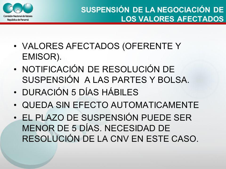 SUSPENSIÓN DE LA NEGOCIACIÓN DE LOS VALORES AFECTADOS VALORES AFECTADOS (OFERENTE Y EMISOR). NOTIFICACIÓN DE RESOLUCIÓN DE SUSPENSIÓN A LAS PARTES Y B