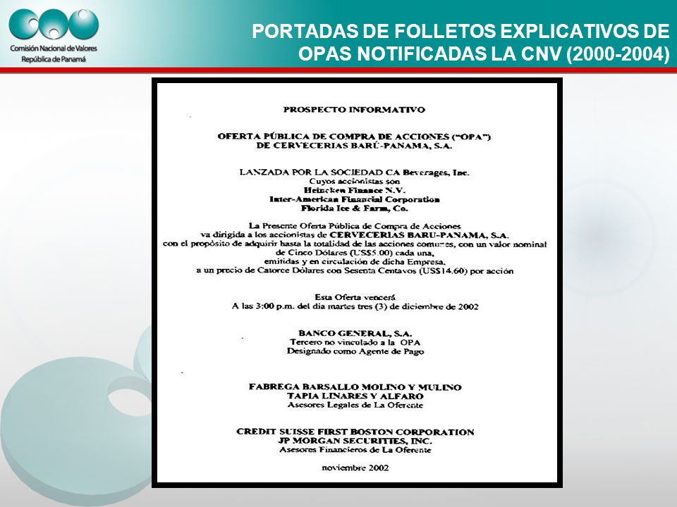 PORTADAS DE FOLLETOS EXPLICATIVOS DE OPAS NOTIFICADAS LA CNV (2000-2004)
