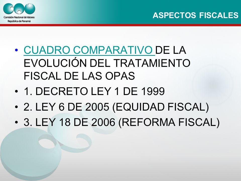 ASPECTOS FISCALES CUADRO COMPARATIVO DE LA EVOLUCIÓN DEL TRATAMIENTO FISCAL DE LAS OPASCUADRO COMPARATIVO 1. DECRETO LEY 1 DE 1999 2. LEY 6 DE 2005 (E