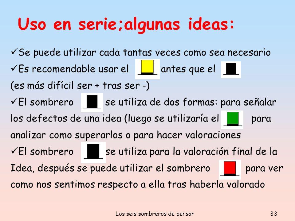 Los seis sombreros de pensar33 Uso en serie;algunas ideas: Se puede utilizar cada tantas veces como sea necesario Es recomendable usar el antes que el