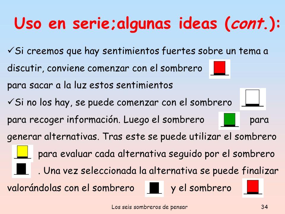 Los seis sombreros de pensar34 Uso en serie;algunas ideas (cont.): Si creemos que hay sentimientos fuertes sobre un tema a discutir, conviene comenzar