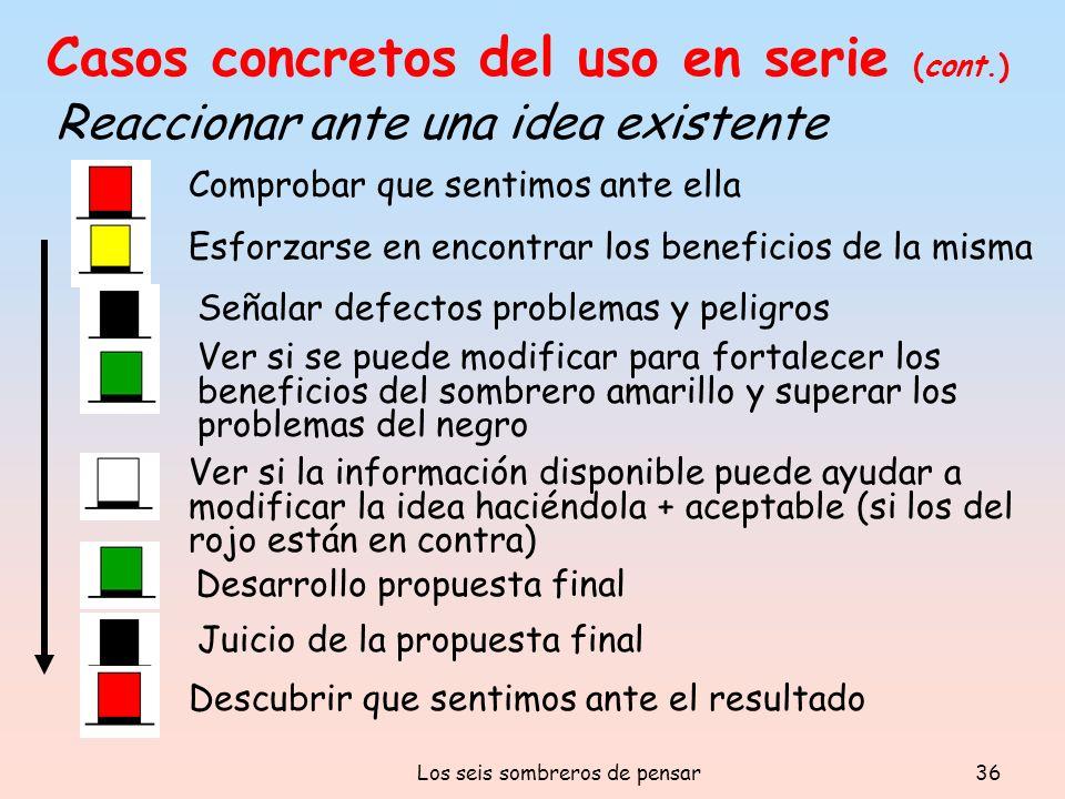 Los seis sombreros de pensar36 Casos concretos del uso en serie (cont.) Reaccionar ante una idea existente Descubrir que sentimos ante el resultado Co