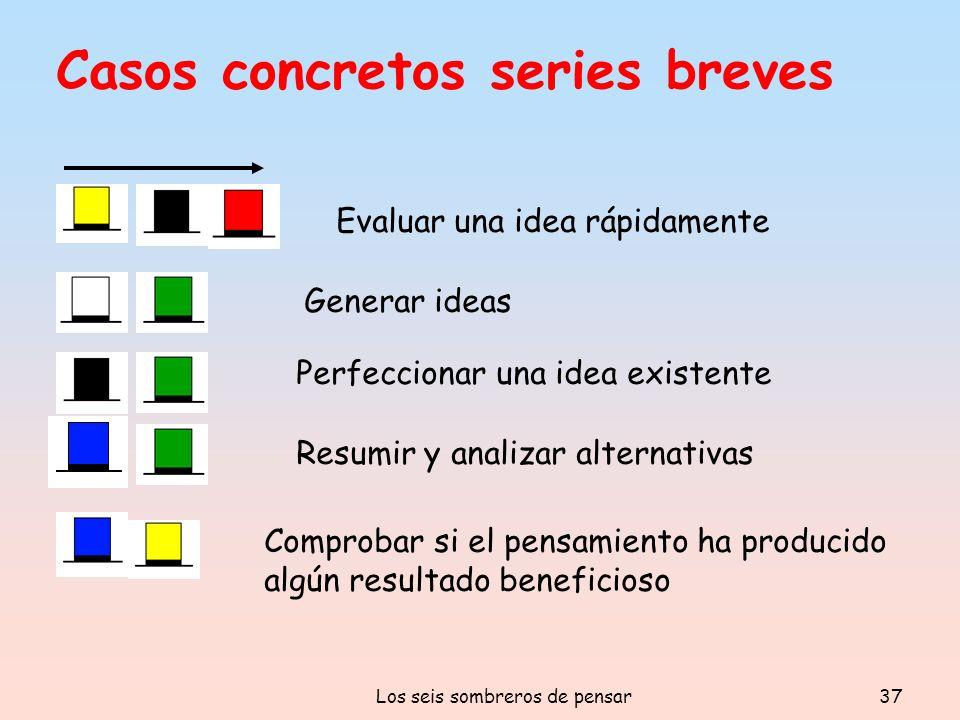Los seis sombreros de pensar37 Casos concretos series breves Evaluar una idea rápidamente Generar ideas Perfeccionar una idea existente Resumir y anal