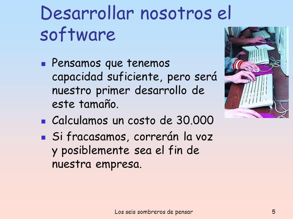 Los seis sombreros de pensar5 Desarrollar nosotros el software Pensamos que tenemos capacidad suficiente, pero será nuestro primer desarrollo de este