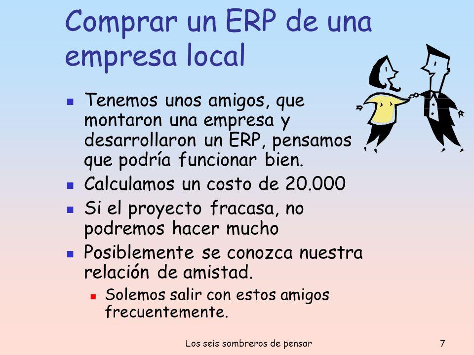 Los seis sombreros de pensar7 Comprar un ERP de una empresa local Tenemos unos amigos, que montaron una empresa y desarrollaron un ERP, pensamos que p