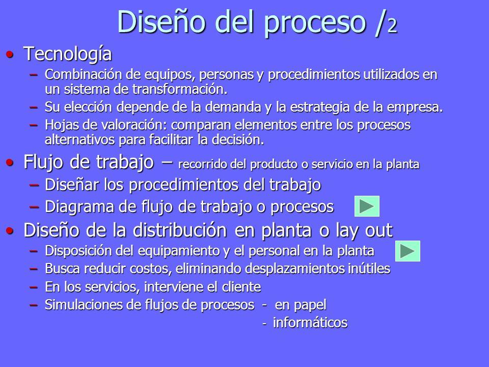 Diseño del proceso / 2 TecnologíaTecnología –Combinación de equipos, personas y procedimientos utilizados en un sistema de transformación. –Su elecció