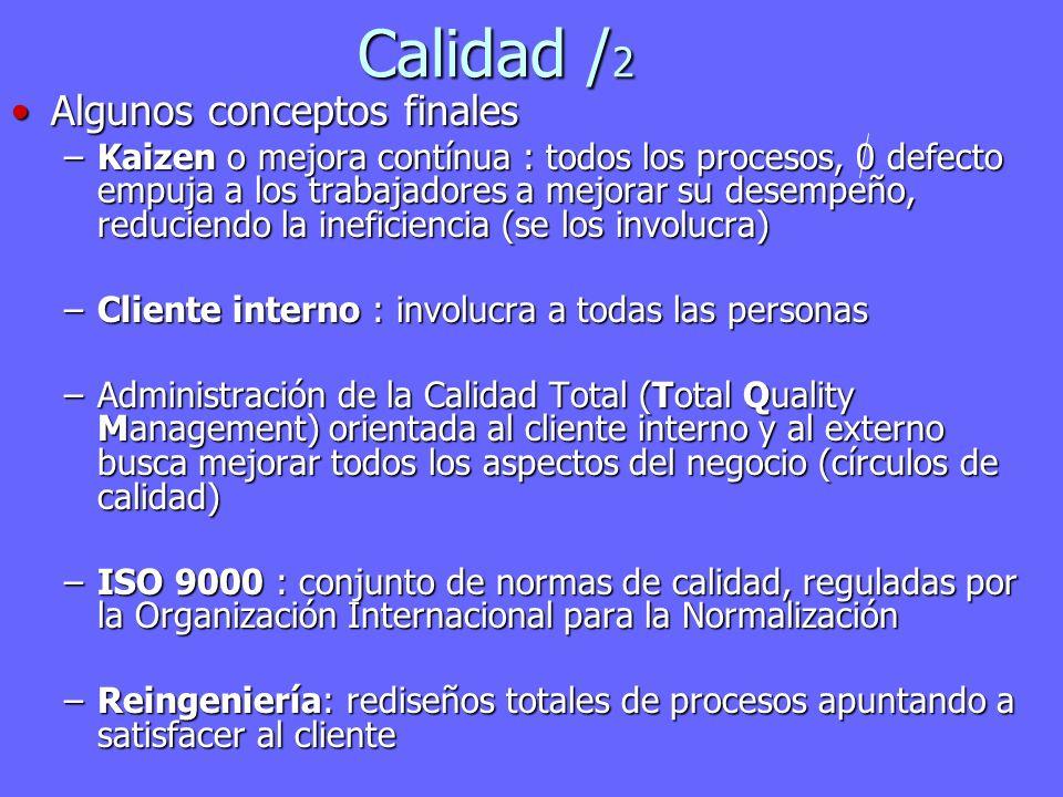 Calidad / 2 Algunos conceptos finalesAlgunos conceptos finales –Kaizen o mejora contínua : todos los procesos, 0 defecto empuja a los trabajadores a m