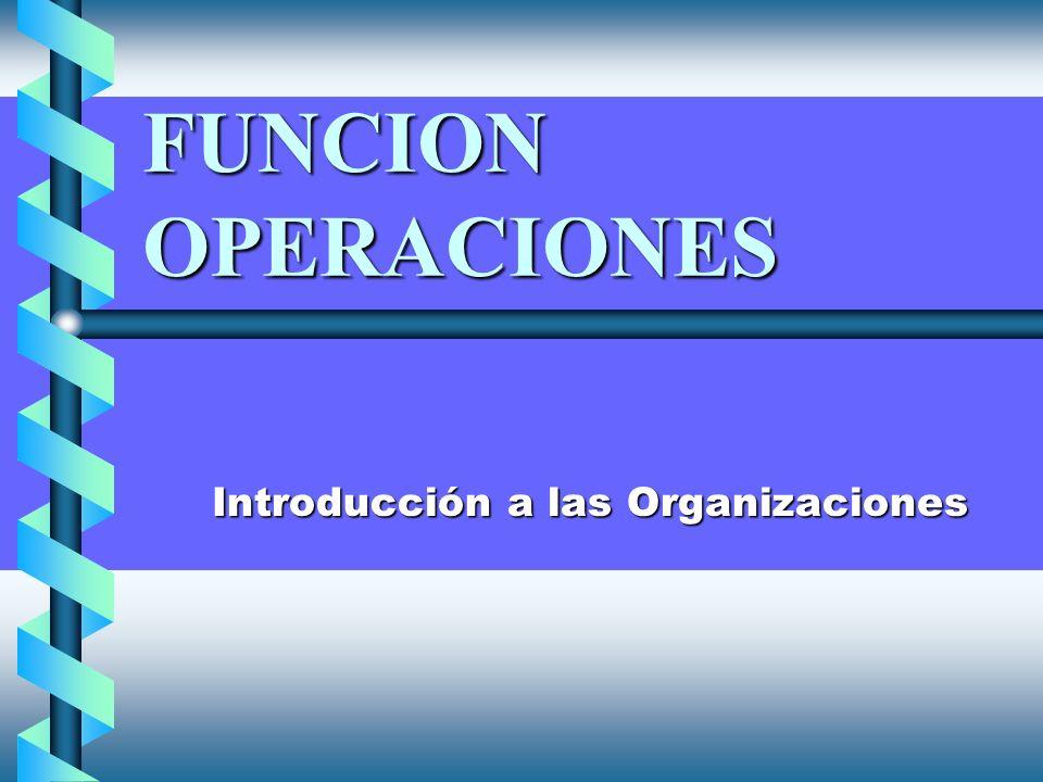 FUNCION OPERACIONES Introducción a las Organizaciones Introducción a las Organizaciones