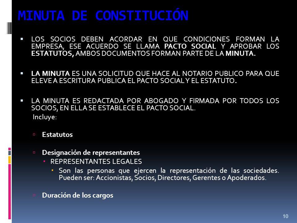 10 MINUTA DE CONSTITUCIÓN LOS SOCIOS DEBEN ACORDAR EN QUE CONDICIONES FORMAN LA EMPRESA, ESE ACUERDO SE LLAMA PACTO SOCIAL Y APROBAR LOS ESTATUTOS, AMBOS DOCUMENTOS FORMAN PARTE DE LA MINUTA.