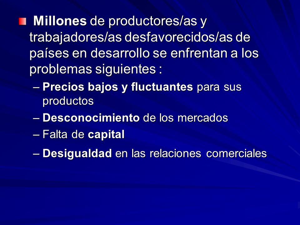 Millones de productores/as y trabajadores/as desfavorecidos/as de países en desarrollo se enfrentan a los problemas siguientes : Millones de productor