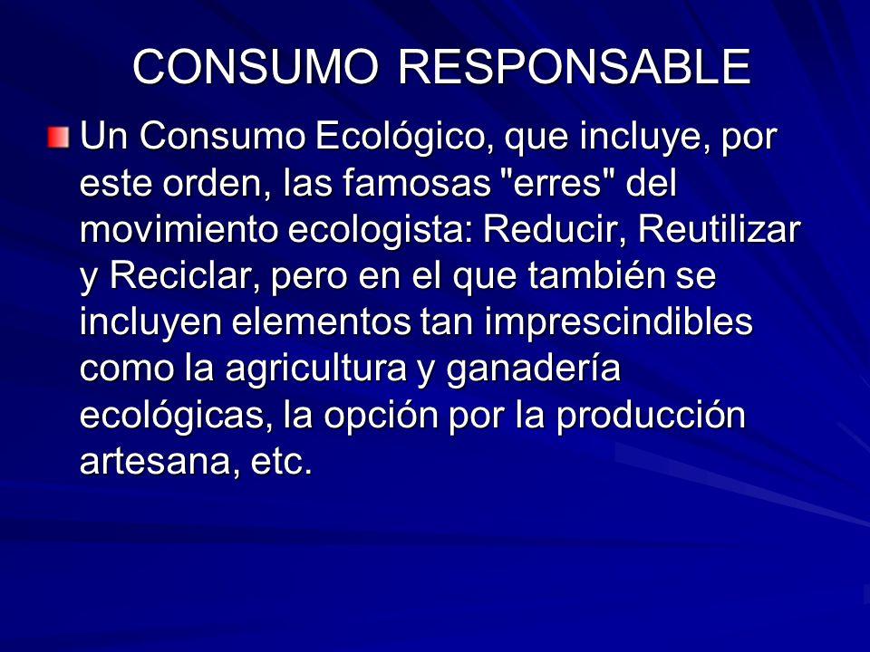 Un Consumo Ecológico, que incluye, por este orden, las famosas