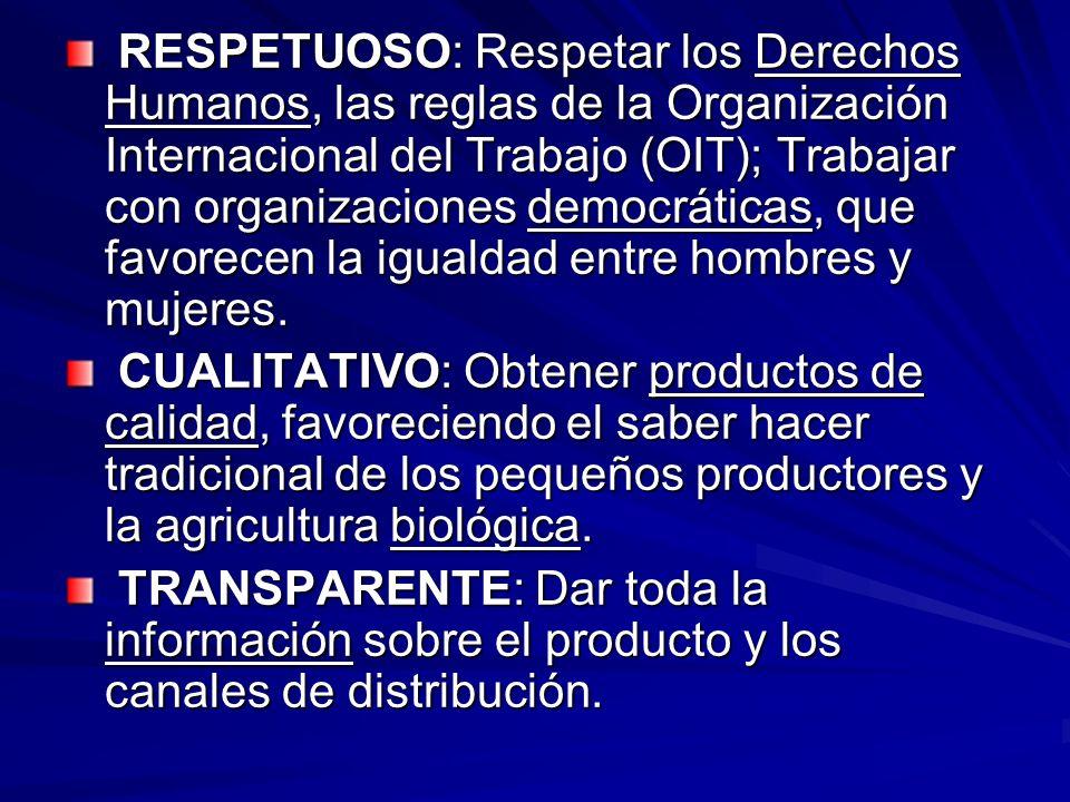 RESPETUOSO: Respetar los Derechos Humanos, las reglas de la Organización Internacional del Trabajo (OIT); Trabajar con organizaciones democráticas, qu
