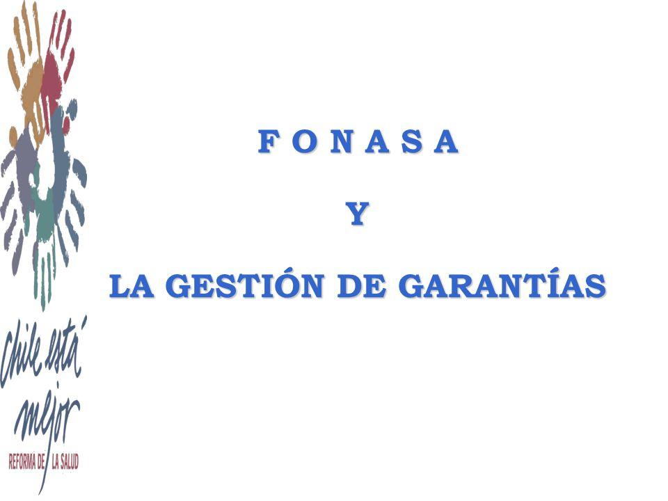 GESTIÓN DE GARANTÍAS 2005 AUGE EN RÉGIMEN FONASA velará por el efectivo cumplimiento de las garantías ejerciendo de manera efectiva su rol asegurador, monitoreando las garantías y actuando ante eventual incumplimiento.