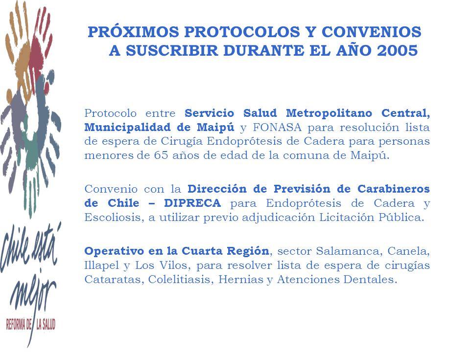 Protocolo entre Servicio Salud Metropolitano Central, Municipalidad de Maipú y FONASA para resolución lista de espera de Cirugía Endoprótesis de Cadera para personas menores de 65 años de edad de la comuna de Maipú.