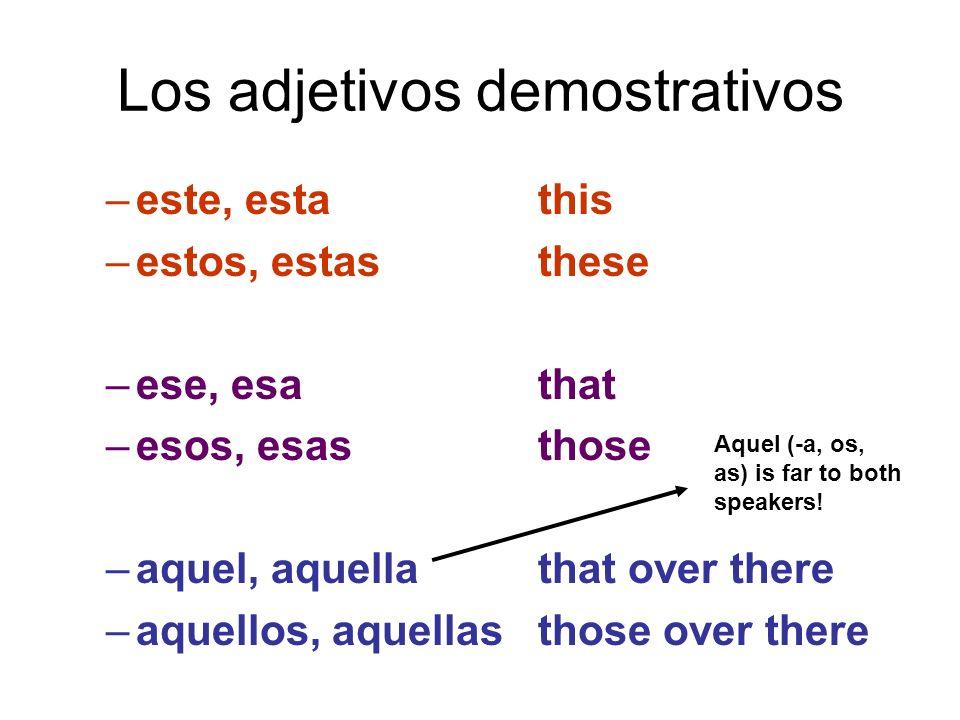 Los adjetivos demostrativos –este, estathis –estos, estasthese –ese, esathat –esos, esasthose –aquel, aquellathat over there –aquellos, aquellasthose