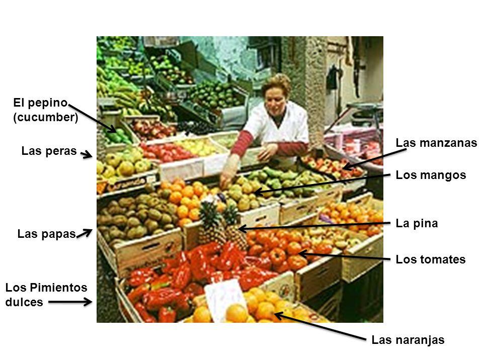 Los Pimientos dulces Las papas Las peras Las naranjas Los tomates La pina Los mangos Las manzanas El pepino (cucumber)