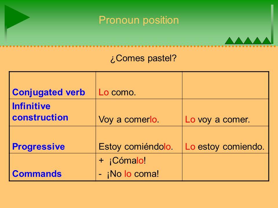 Pronoun position Conjugated verb Lo como. Infinitive construction Voy a comerlo.Lo voy a comer.