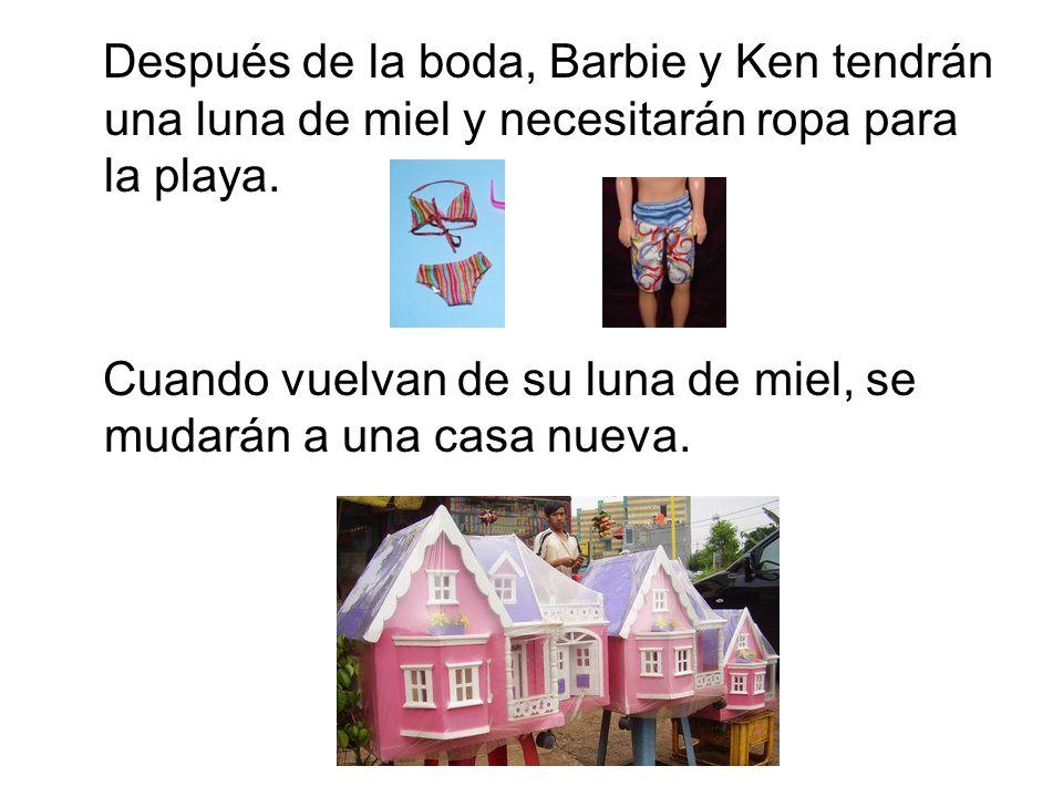 Después de la boda, Barbie y Ken tendrán una luna de miel y necesitarán ropa para la playa. Cuando vuelvan de su luna de miel, se mudarán a una casa n