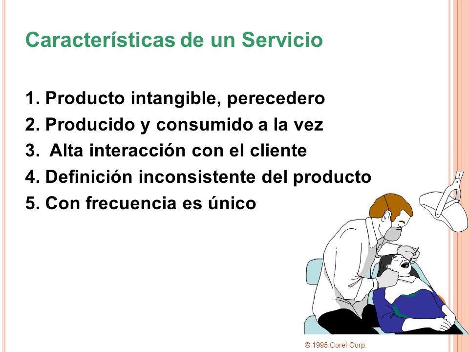 Características de un Servicio 1. Producto intangible, perecedero 2. Producido y consumido a la vez 3. Alta interacción con el cliente 4. Definición i