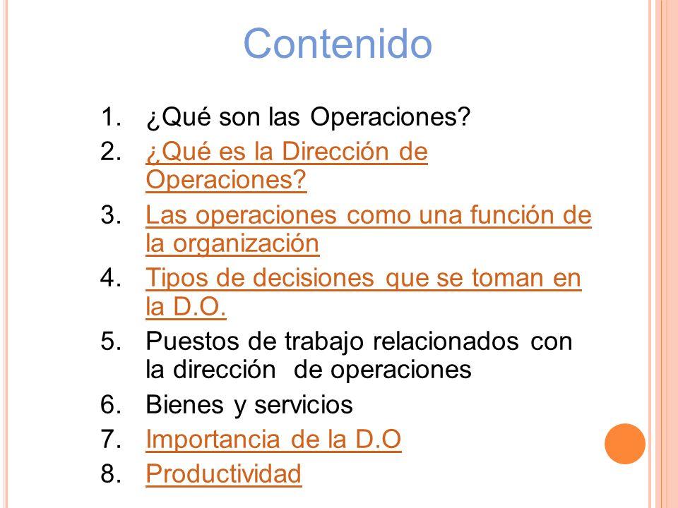 Contenido 1.¿Qué son las Operaciones? 2.¿Qué es la Dirección de Operaciones?¿Qué es la Dirección de Operaciones? 3.Las operaciones como una función de