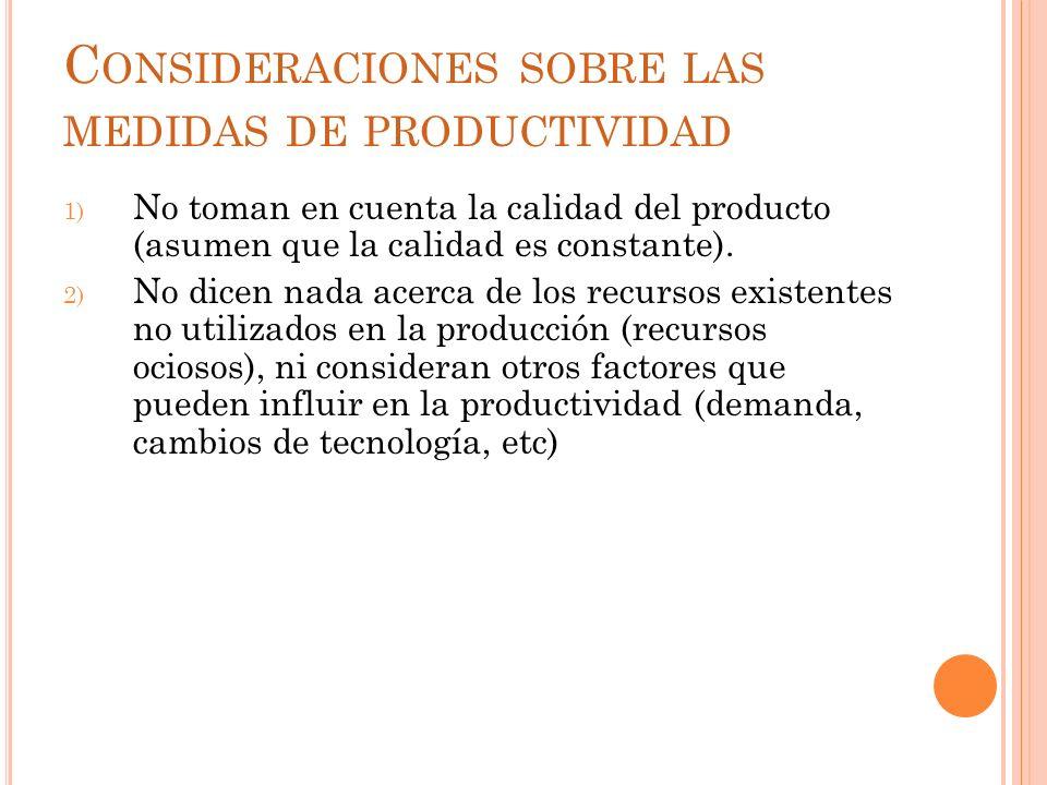 C ONSIDERACIONES SOBRE LAS MEDIDAS DE PRODUCTIVIDAD 1) No toman en cuenta la calidad del producto (asumen que la calidad es constante). 2) No dicen na