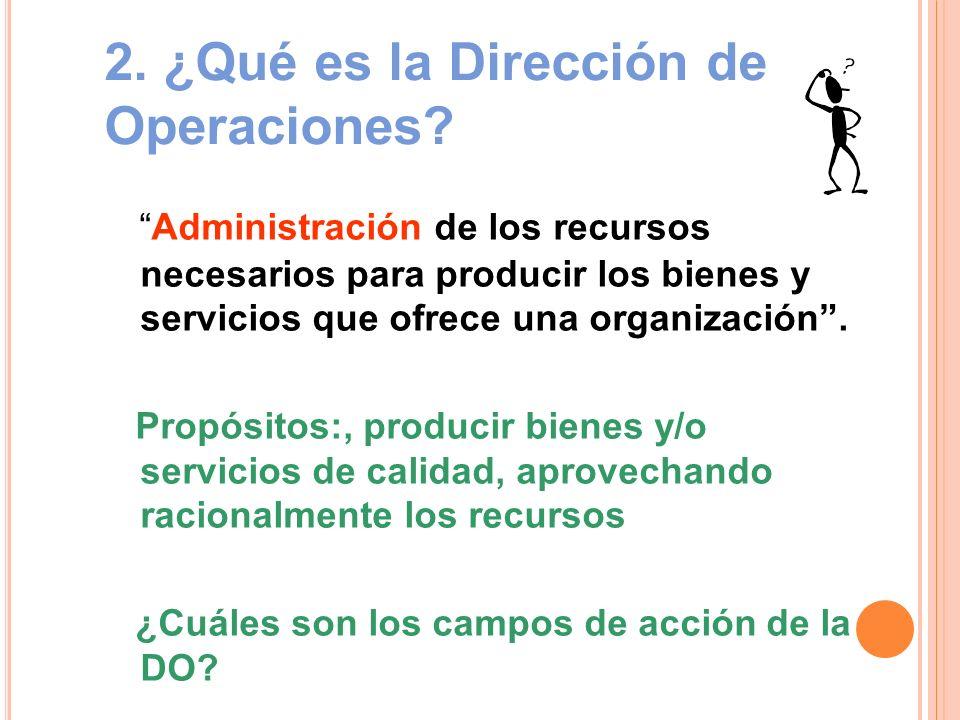 2. ¿Qué es la Dirección de Operaciones? Administración de los recursos necesarios para producir los bienes y servicios que ofrece una organización. Pr