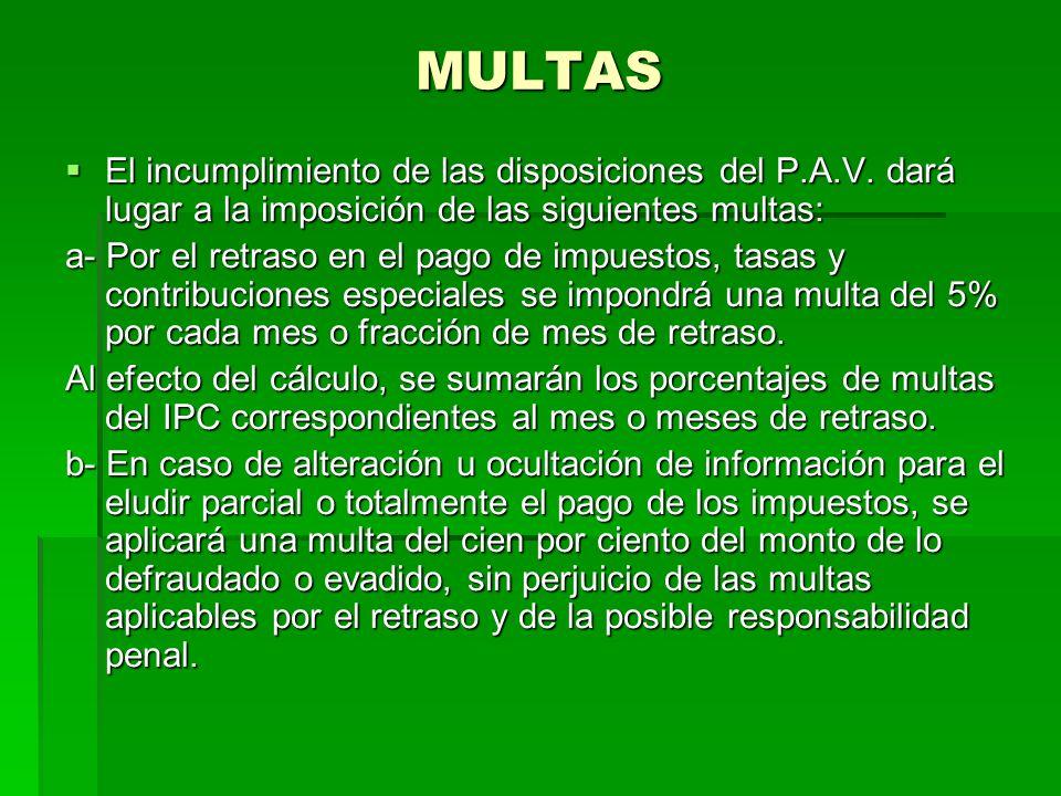 MULTAS El incumplimiento de las disposiciones del P.A.V.