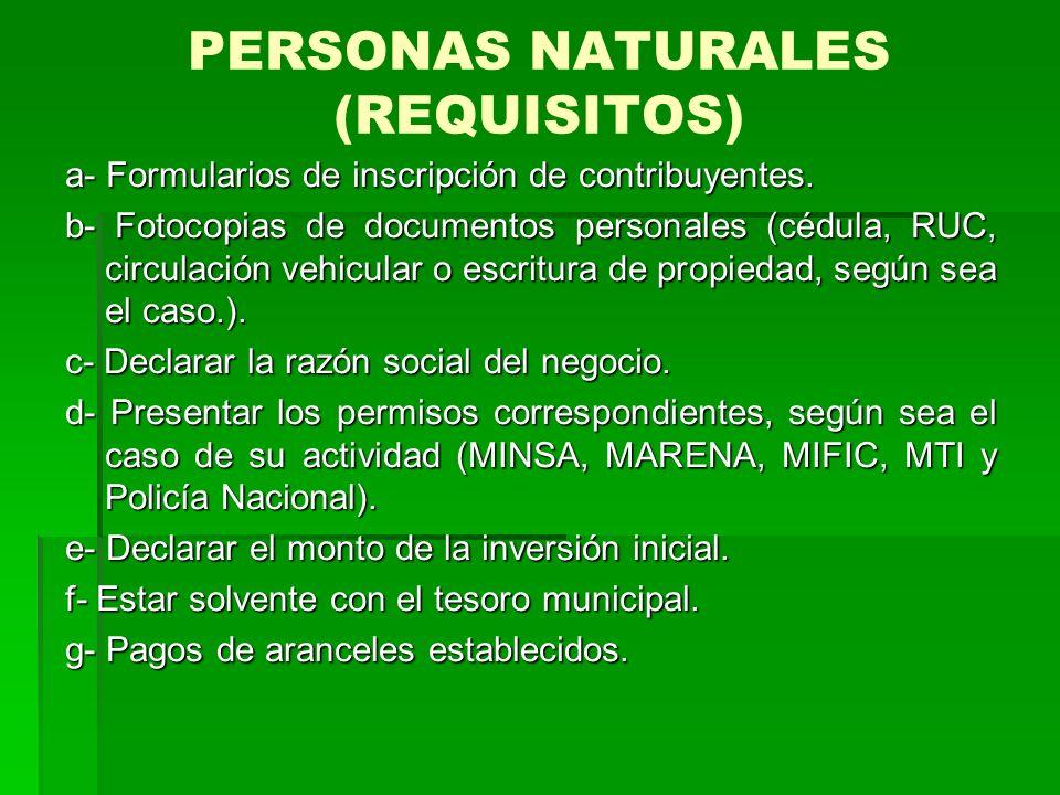 PERSONAS NATURALES (REQUISITOS) a- Formularios de inscripción de contribuyentes.
