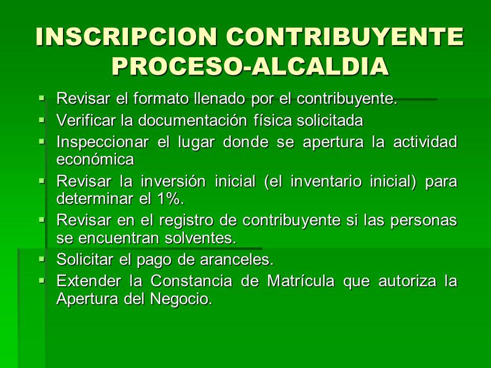 INSCRIPCION CONTRIBUYENTE PROCESO-ALCALDIA Revisar el formato llenado por el contribuyente.