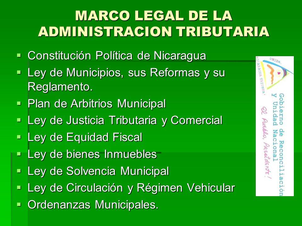 MARCO LEGAL DE LA ADMINISTRACION TRIBUTARIA Constitución Política de Nicaragua Constitución Política de Nicaragua Ley de Municipios, sus Reformas y su Reglamento.