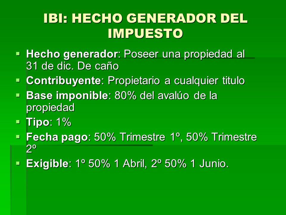 IBI: HECHO GENERADOR DEL IMPUESTO Hecho generador: Poseer una propiedad al 31 de dic.