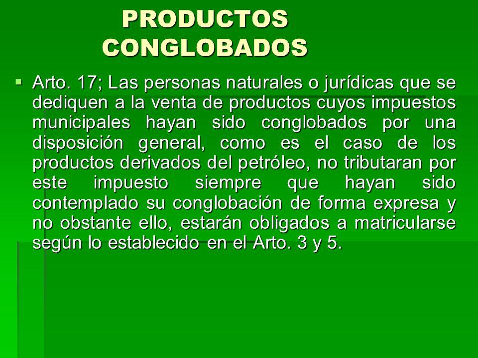 PRODUCTOS CONGLOBADOS Arto.
