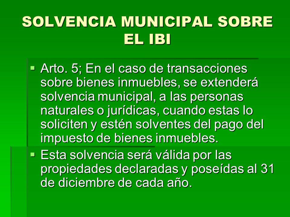 SOLVENCIA MUNICIPAL SOBRE EL IBI Arto.