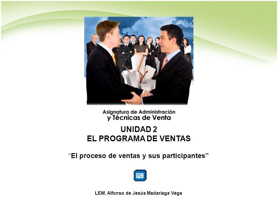 UNIDAD 2 EL PROGRAMA DE VENTAS El proceso de ventas y sus participantes LEM.