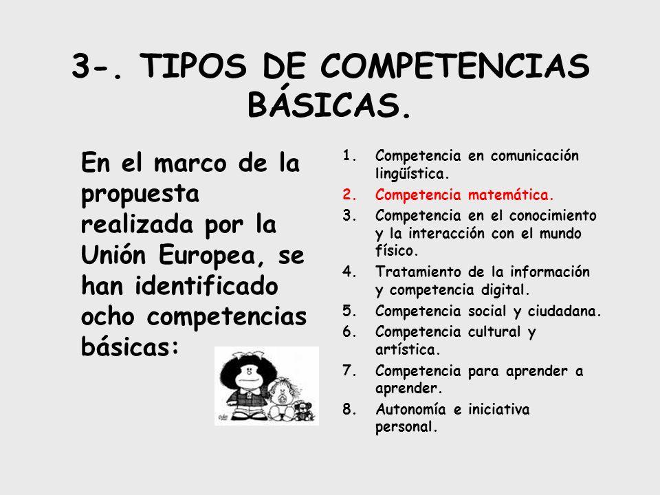 3-. TIPOS DE COMPETENCIAS BÁSICAS. En el marco de la propuesta realizada por la Unión Europea, se han identificado ocho competencias básicas: 1.Compet