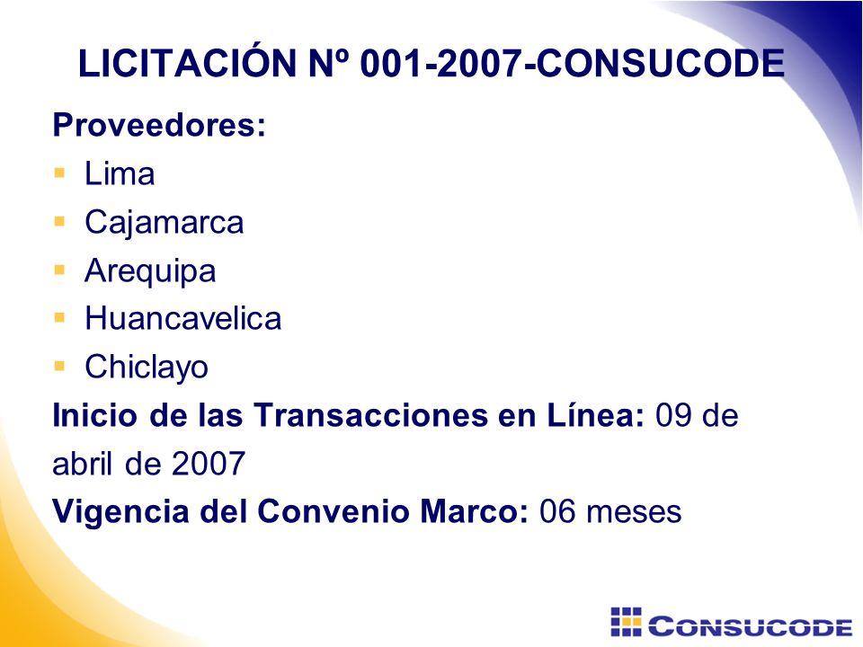 LICITACIÓN Nº 001-2007-CONSUCODE Proveedores: Lima Cajamarca Arequipa Huancavelica Chiclayo Inicio de las Transacciones en Línea: 09 de abril de 2007 Vigencia del Convenio Marco: 06 meses