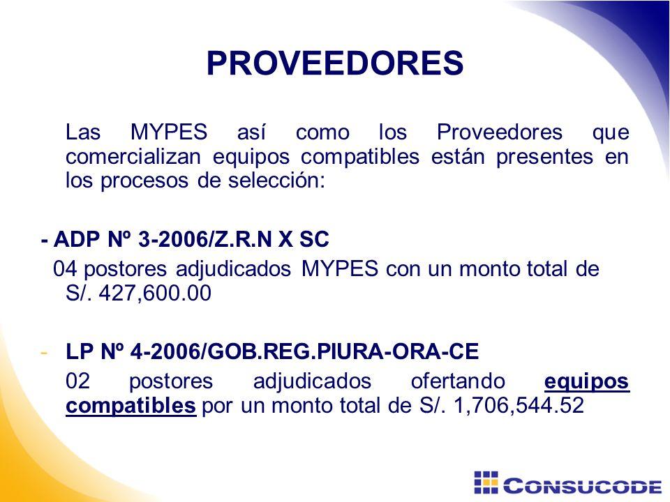 PROVEEDORES Las MYPES así como los Proveedores que comercializan equipos compatibles están presentes en los procesos de selección: - ADP Nº 3-2006/Z.R.N X SC 04 postores adjudicados MYPES con un monto total de S/.