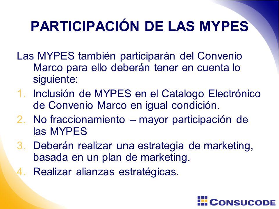 PARTICIPACIÓN DE LAS MYPES Las MYPES también participarán del Convenio Marco para ello deberán tener en cuenta lo siguiente: 1.Inclusión de MYPES en el Catalogo Electrónico de Convenio Marco en igual condición.